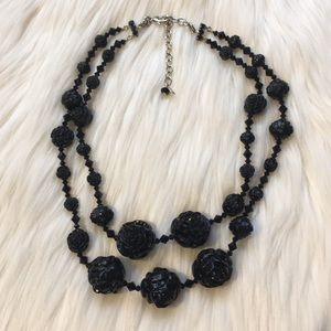 Tarina Tarantino Black Lucite Carved Rose Necklace